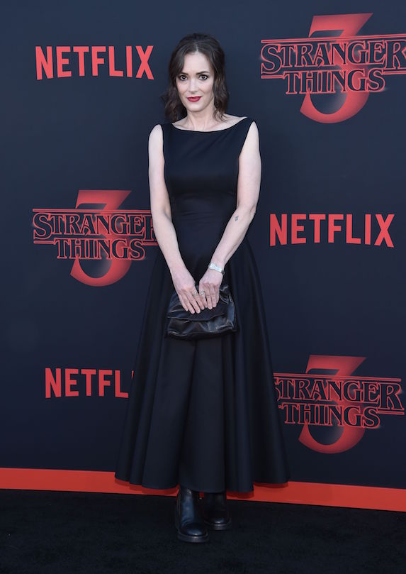 Winona Ryder wears a black gown to a premiere in 2019
