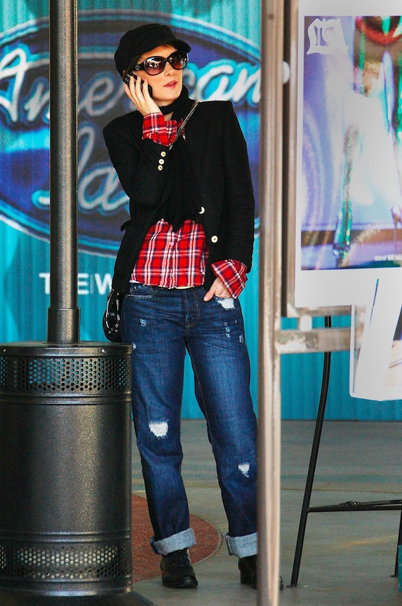 Winona Ryder is dressed casually in jeans, a plaid shirt and blazer while out in Beverly Hills in 2009