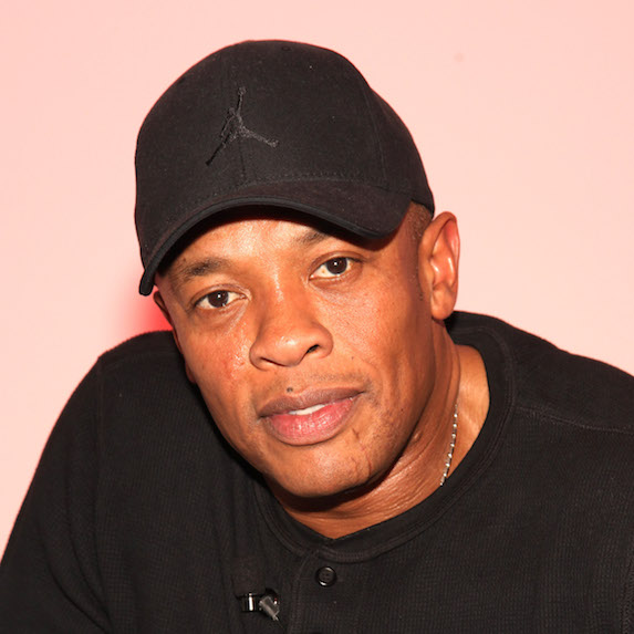 Dr. Dre looking straight on at the camera in a black hat