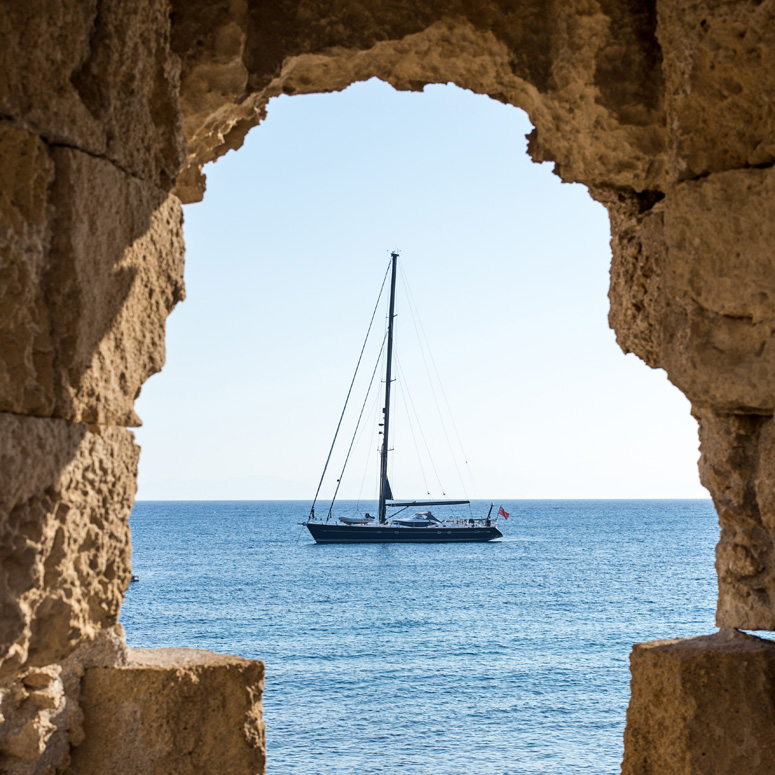 Sailboat off the Dodecanese Islands, Greece