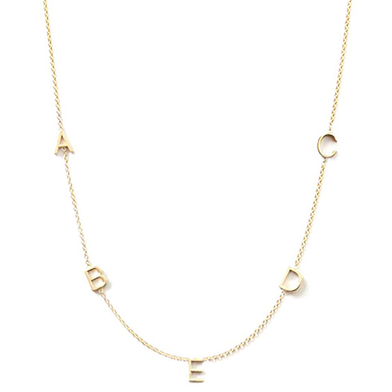 Delicate letter necklace with A, B, C, D, E