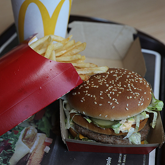 Big Mac, fries and drink on tray at McDonald's