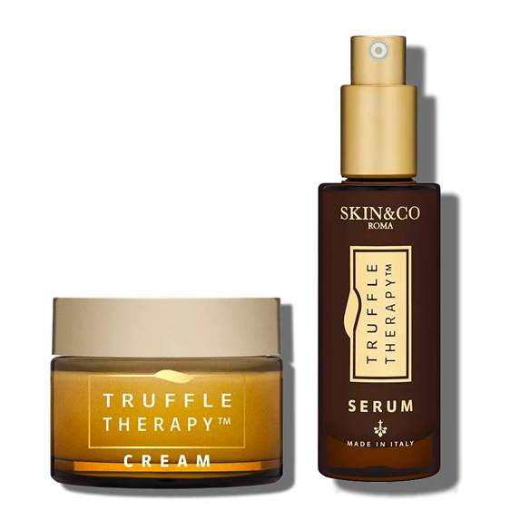 Bottles of skin cream and serum from Skin&Co Roma