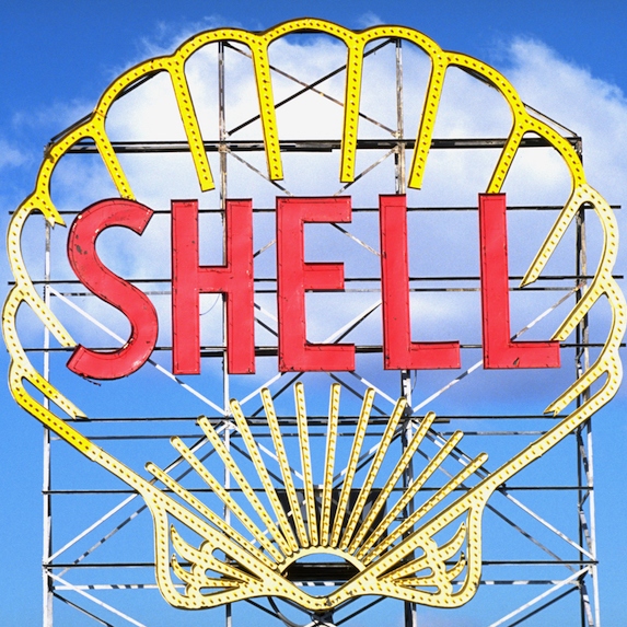 Old school shell sign