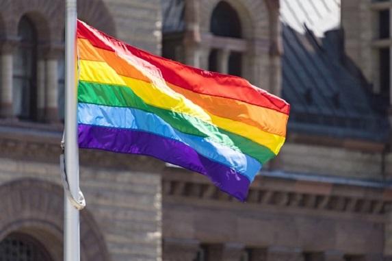 Rainbow Flag on a flag pole