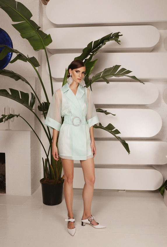 Victoria Hayes mint Organza dress.