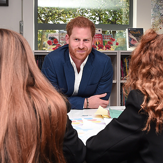 Prince Harry chatting with young people