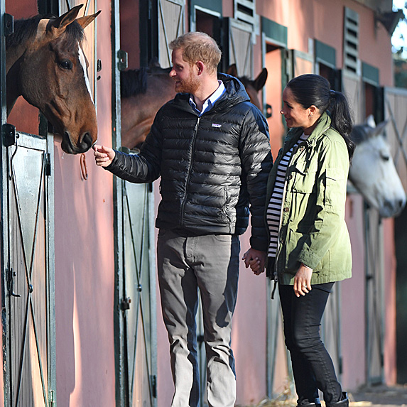 Prince Harry and Duchess Meghan at horse stables