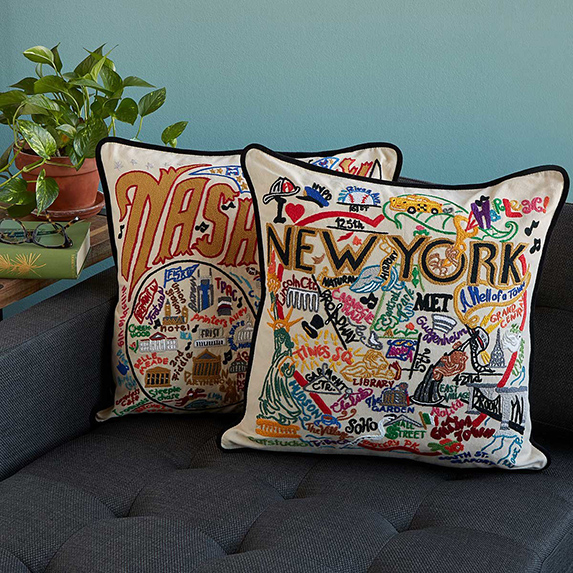Gifts for Difficult People: Hand-Embroidered City Pillow