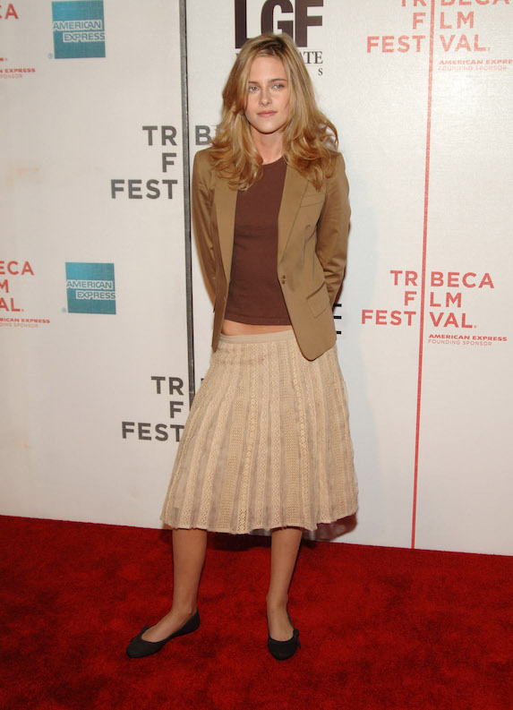 Kristen Stewart dons blonde hair, a blazer, pleated skirt and ballet flats for an appearance at the Tribeca Film Festival in 2005