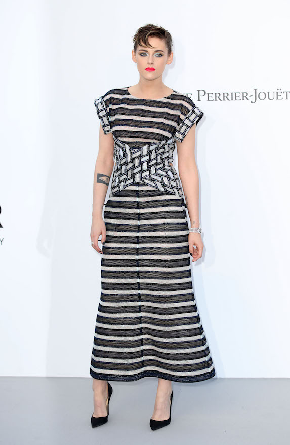 Kristen Stewart wears a striped gown in Cannes in 2018