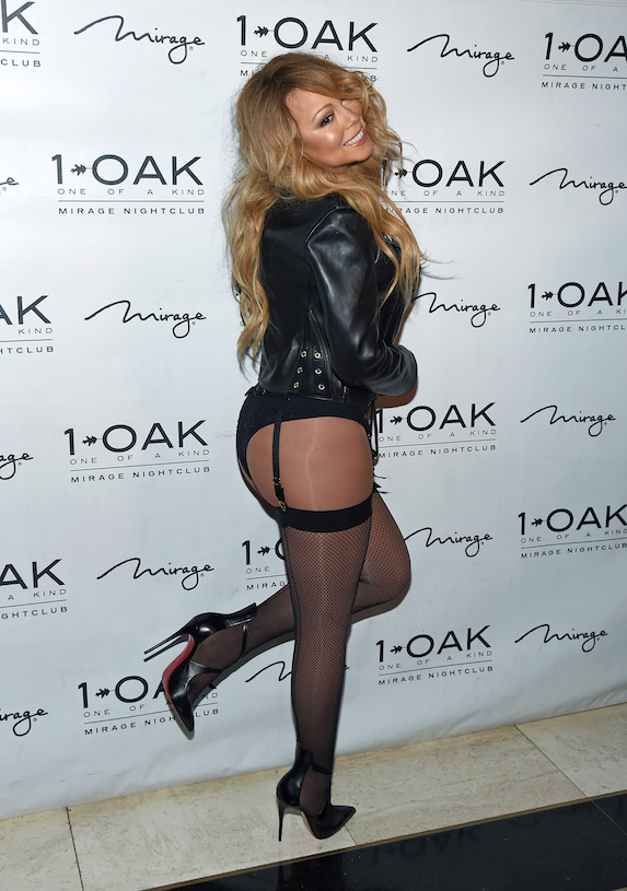 Mariah Carey wears stockings, a black leather jacket and high heels while attending an event in Las Vegas in 2016