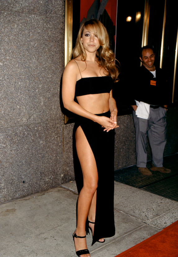 Mariah Carey wears a black two-piece outfit to the MTV Video Music Awards in 1997