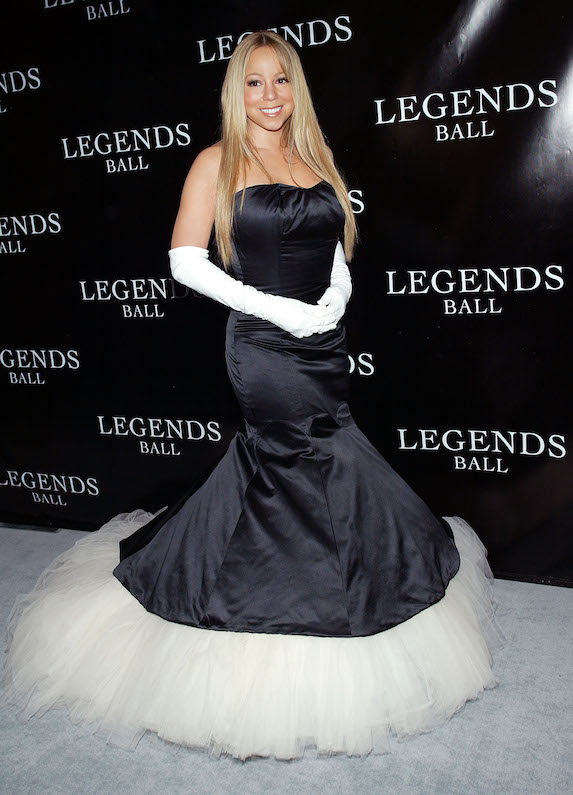 Mariah Carey wears a strapless ballgown to an event in 2005