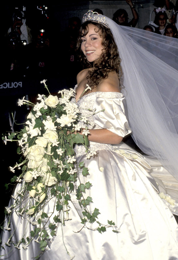 Mariah Carey in her wedding dress at her wedding to producer Tommy Motola in 1993