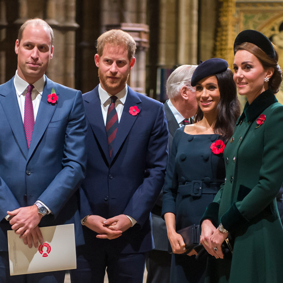Prince William, Prince Harry, Meghan, Duchess of Sussex and Kate, Duchess of Cambridge attend a Remembrance Day ceremony