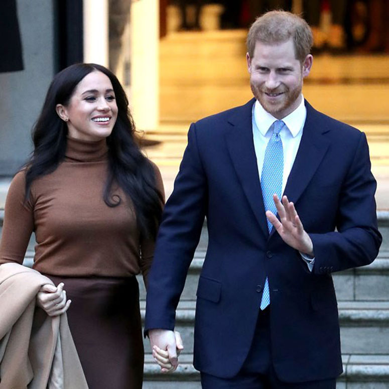 Meghan Markle and Prince Harry leaving Canada House in London