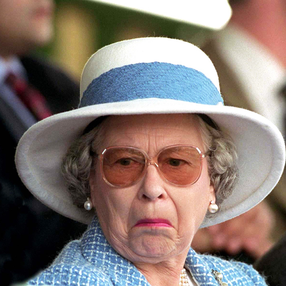 Queen Elizabeth makes a face of surprise at a royal event
