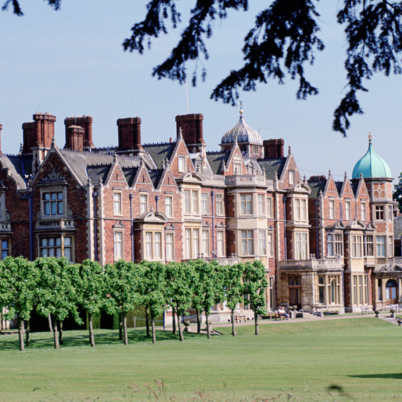 An exterior view of Sandringham House, the queen's estate in Norfolk