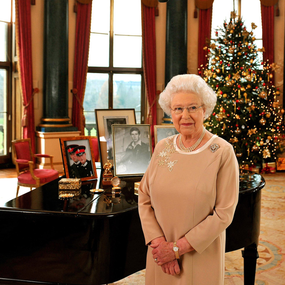 Queen Elizabeth in a still image from her Christmas Day address at Sandringham estate