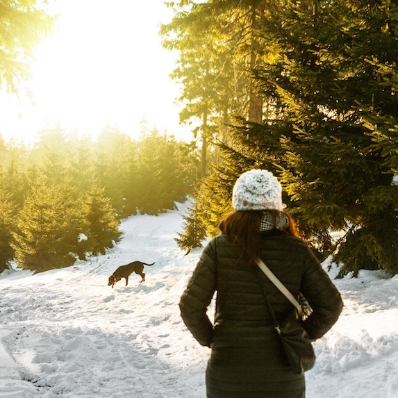 woman walking in snowy forest with dog on sunny winter day