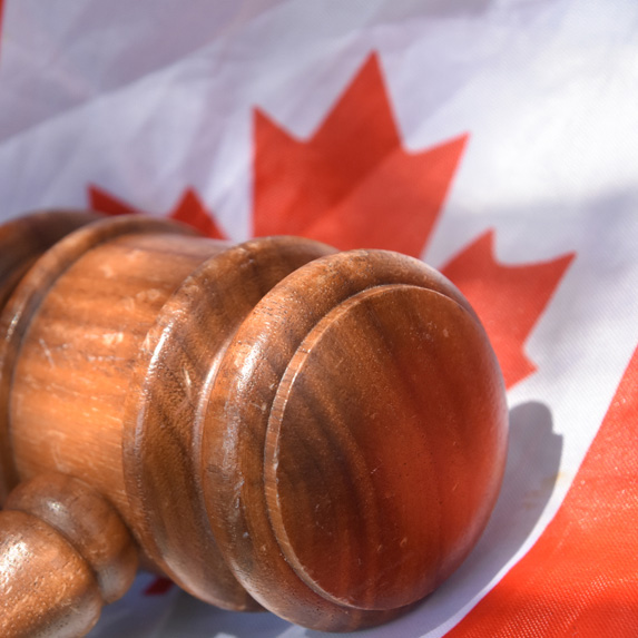 Gavel and Canadian flag