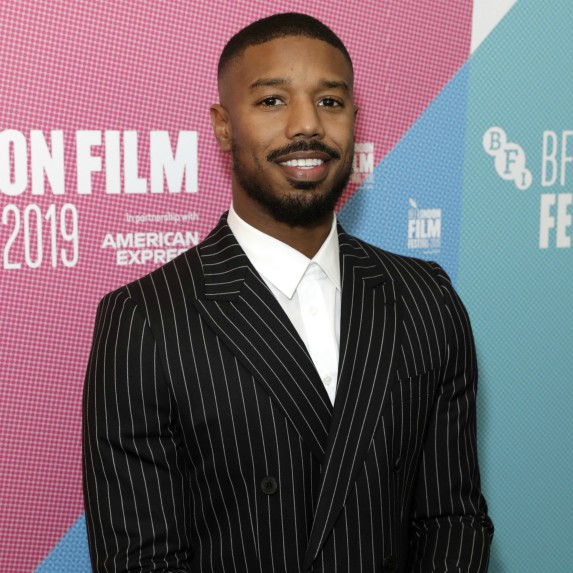 Michael B Jordan looking at camera