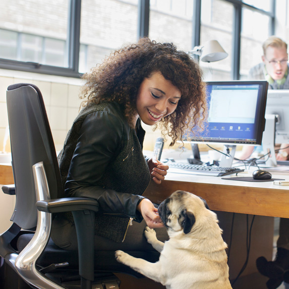Woman plays with dog in her office