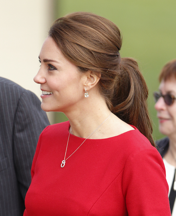 Kate Middleton wears a classic ponytail