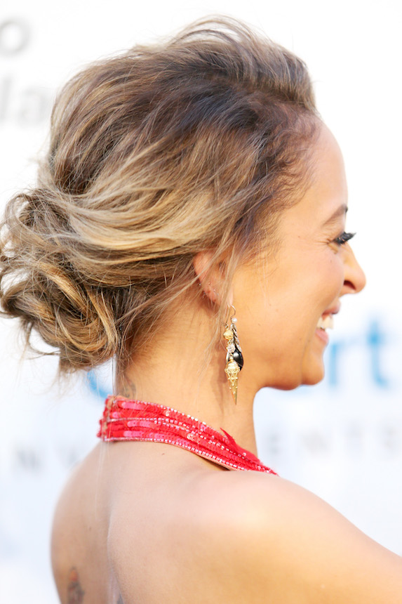 Nicole Ritchie wears a messy bun hairstyle