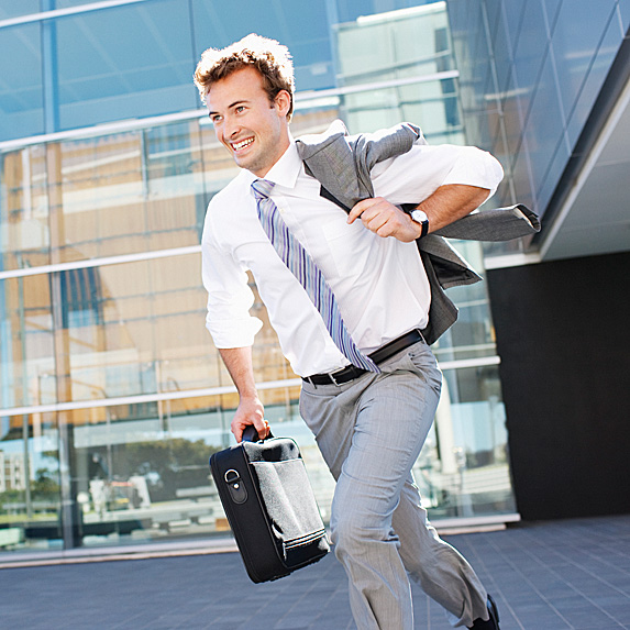 Man running out of office building
