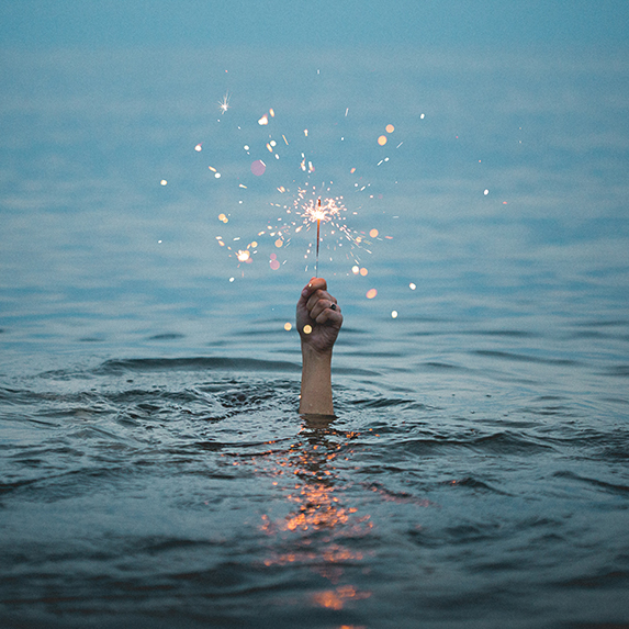 Swimming with a sparkler