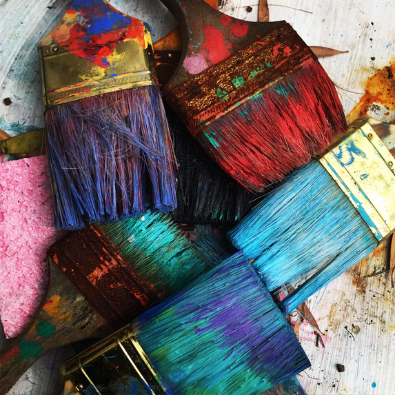 Colourful paint brushes