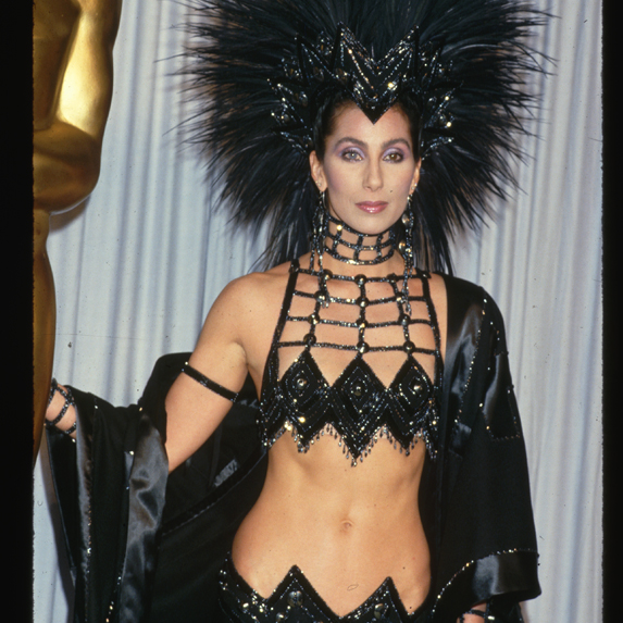 Cher in her famous Bob Mackie dress after winning the Oscar for Best Actress in 1986