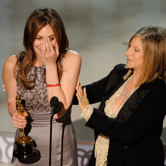 Kathryn Bigelow accepts an historic Oscar as the first woman to win Best Director