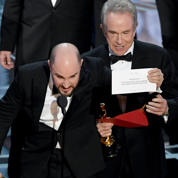 Warren Beatty onstage when the wrong movie was named Best Picture at the Oscars in 2017