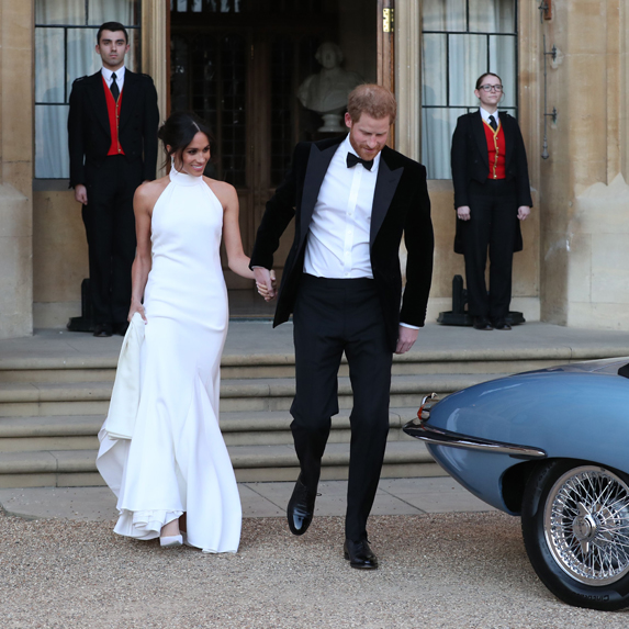 Meghan and Harry head to their wedding reception at Frogmore House