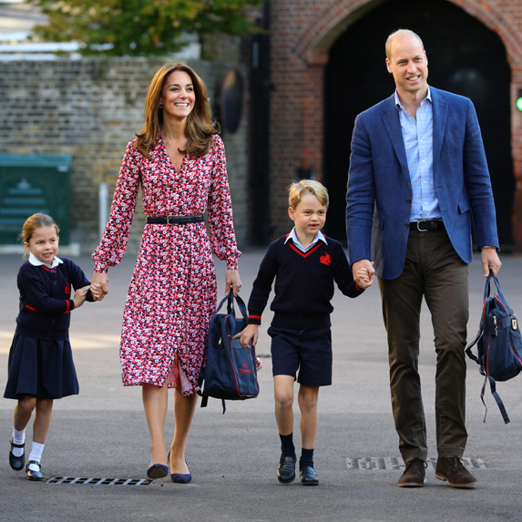 Kate Middleton and Prince William walk their two elder kids, Princess Charlotte and Prince George, to school