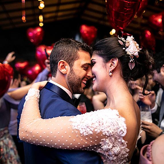 Groom and bride dancing at wedding