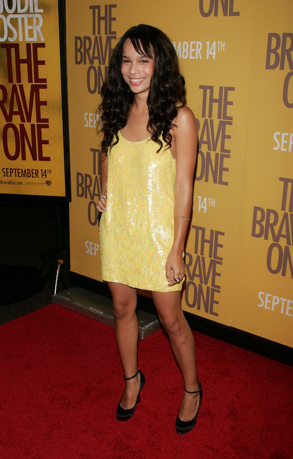 Zoe Kravitz wears a yellow sequin mini dress to a film premiere in 2007