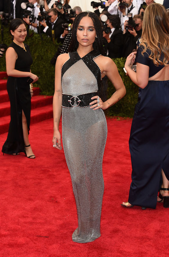 Zoe Kravitz wears a silver chainmail-style dress to the 2015 MET Gala
