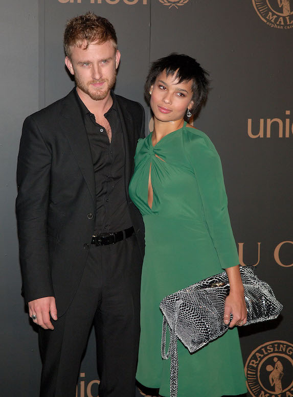 Zoe Kravitz wears a green gown while attending a benefit event with then-boyfriend, actor Ben Foster, in 2008