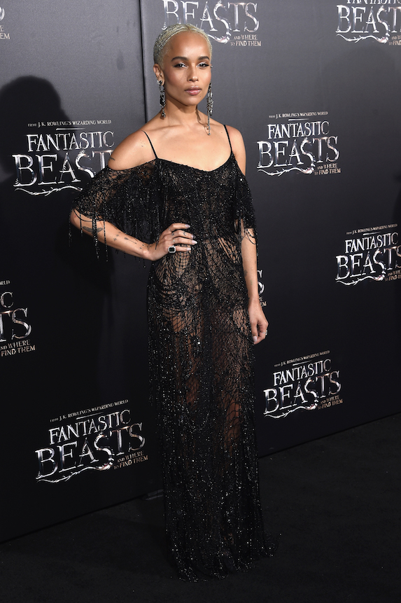 Zoe Kravitz wears a black beaded gown to a 2016 film premiere