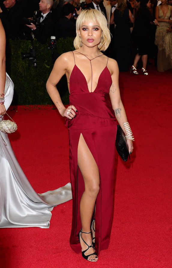 Zoe Kravitz wears a strappy red gown to the MET Gala in 2014