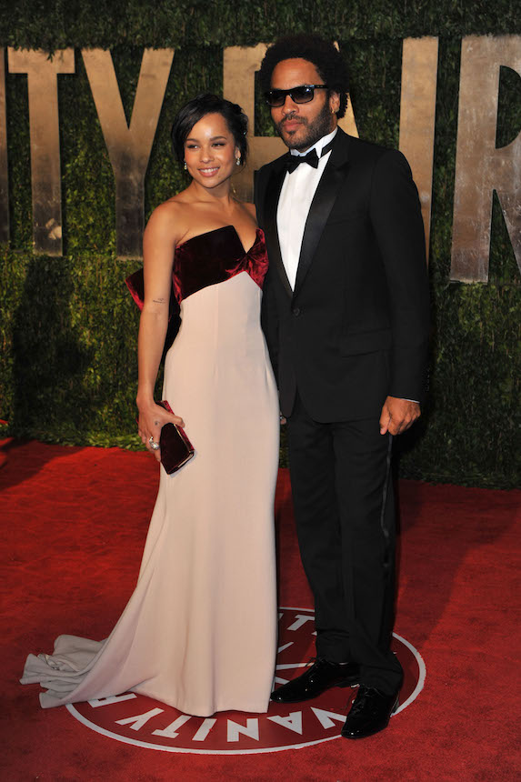 Zoe Kravitz and father Lenny Kravitz pose at the 2010 Vanity Fair Oscar Party red carpet
