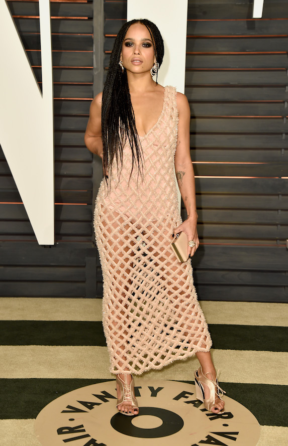 Zoe Kravitz wears a nude netted-gown to the Vanity Fair Oscar Party in 2015