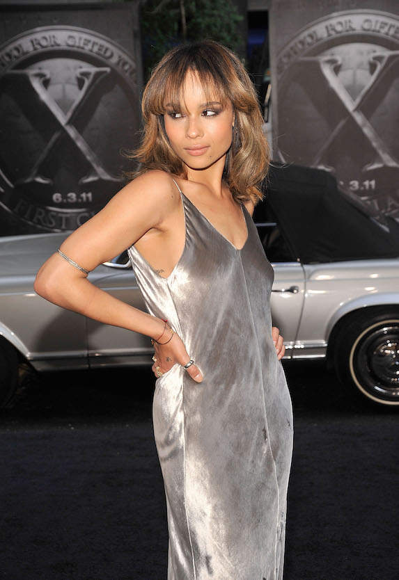 Zoe Kravitz wears a silver strappy gown to a 2011 New York film premiere