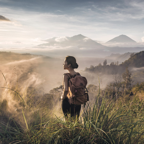 Solo traveller hiking