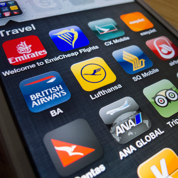 Smartphone with travel app icons