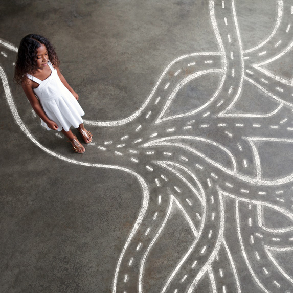 Girl with many paths in front of her